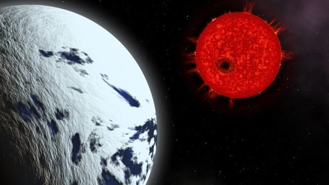 Rappresentazione artistica del sistema della stella GJ1214. In primo piano il suo pianeta, GJ1214b, avvolto da un fitto strato di nubi. Sullo sfondo, la stella nana rossa con una prominente macchia stellare, la cui occultazione da parte di GJ1214b è stata registrata grazie alle osservazioni del Large Binocular Telescope, di cui l'INAF è uno dei partner. Crediti: Marco Galliani - Media INAF