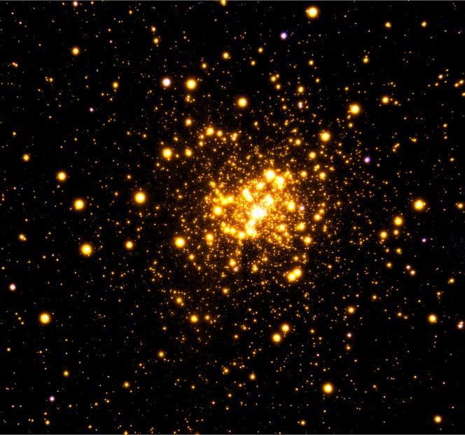 Immagine dell'ammasso globulare Liller 1 nel vicino infrarosso ottenuta con il sistema di ottiche adattive GeMS del telescopio Gemini Sud presso il Gemini Observatory in Cile. Crediti: Gemini Observatory/AURA