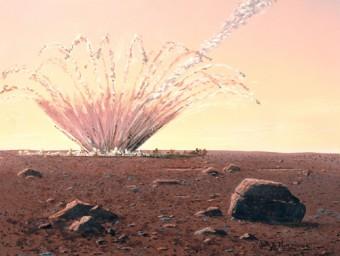 Rappresentazione artistica di un impatto di un asteroide sulla superficie di Marte. Crediti:  William K. Hartmann