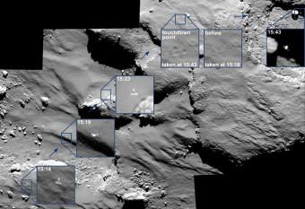Queste incredibili immagini mostrano il viaggio mozzafiato di Philae durante il suo avvicinamento e il primo rimbalzo sulla cometa 67P il 12 novembre il 2014. Il mosaico si compone di una serie di immagini catturate dalla camera OSIRIS in un intervallo di tempo di 30 minuti. Crediti: ESA/Rosetta/MPS, per il team OSIRIS MPS/UPD/LAM/IAA/SSO/INTA/UPM/DASP/IDA