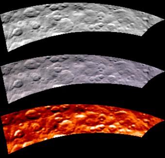 Immagini in ottico e infrarosso di una porzione dell'emisfero nordi di Cerere ottenute il 16 maggio 2015 dallo spettrometro VIR a bordo della sonda Dawn. Crediti: NASA/JPL-Caltech/UCLA/ASI/INAF