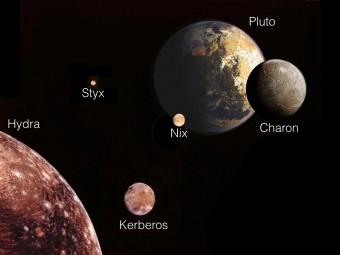 L'illustrazione mostra Plutone e le sue cinque lune da una prospettiva con il Sole alle spalle. Avvicinandosi al sistema, troviamo per prima la luna più esterna, Hydra, rappresentata in basso a sx. Gli altri corpi sono scalati alla dimensione a cui apparirebbero da questo punto di vista.  Crediti: NASA, Mark Showalter (SETI Institute)