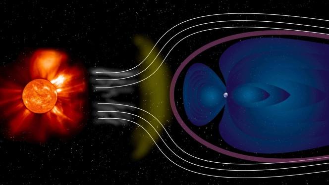 o scudo protettivo della Terra, la magnetosfera, la protegge da alcuni degli effetti del vento solare che viaggia a velocità supersonica. Studiare l'interazione tra questo vento e la magnetosfera è cruciale per comprendere quello che viene denominato space weather. Crediti: ESA