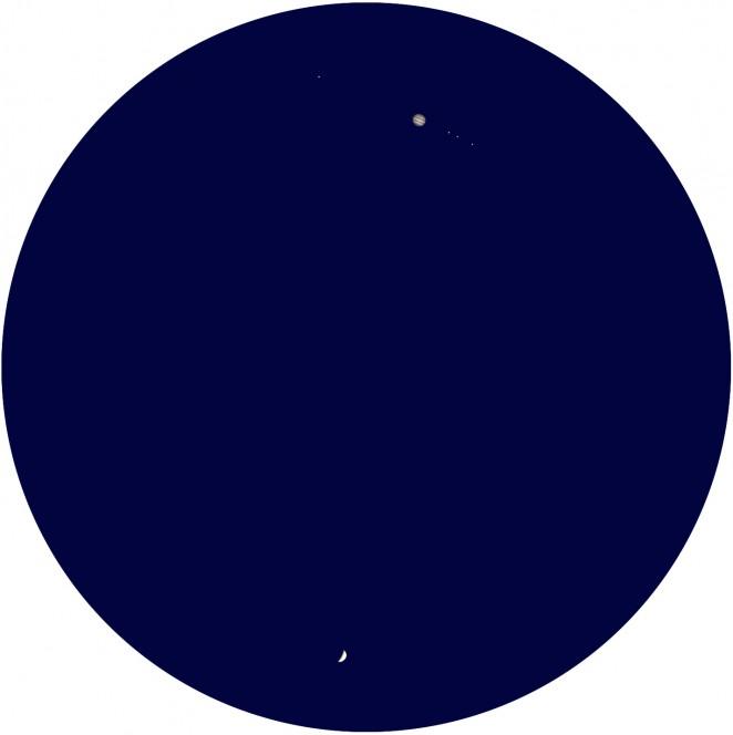 Ecco appariranno Giove (sopra) e Venere (sotto) domani 30 giugno se osservati con un telescopio amatoriale. Le lune di Giove da destra a sinistra sono Ganimede, Europa, Io e Callisto. Crediti: Stellarium