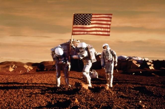 Gli Stati Uniti su Marte, nell'ironico rendering di un artista.
