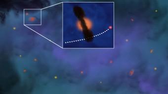 Rappresentazione artistica di una piccola porzione di stelle in formazione nell'ammasso stellare Omega Centauri. Nell'ingrandimento è evidenziato il disco di gas e polveri che circonda una di queste stelle e, con tratteggio bianco, la traiettoria di un altro astro che impatterà su di esso, distruggendolo. Crediti: Marco Galliani - Media INAF