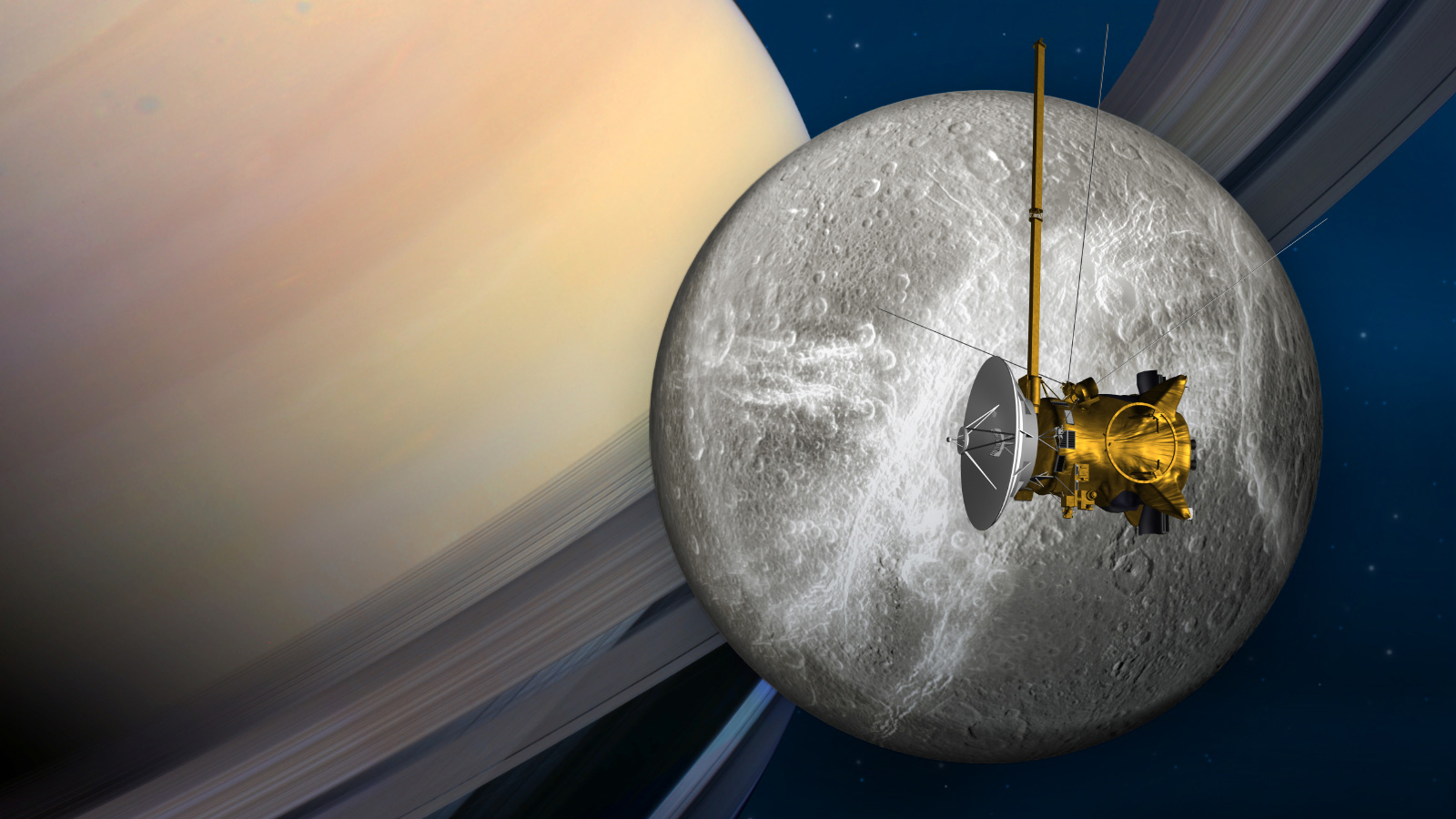 Cassini e Dione in una rappresentazione artistica. Crediti: NASA/JPL-Caltech