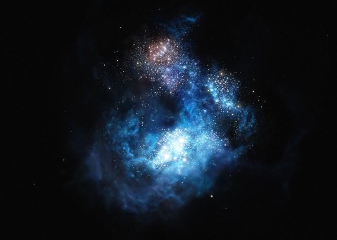 Questa rappresentazione artistica mostra CR7, una galassia molto distante scoperta con il VLT. È la galassia di gran lunga più brillante mai trovata nell'Universo primordiale. Crediti: ESO/M. Kornmesser