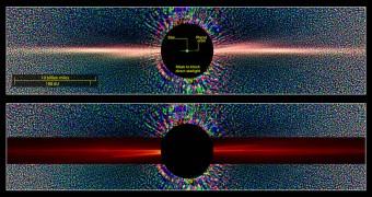 Queste immagini confrontano una vista della stella Beta Pictoris in luce diffusa come vista  dal telescopio spaziale Hubble (in alto), con una vista simile costruita con i dati ottenuti grazie alla simulazione SMACK (overlay rosso, in basso).  Credits: sopra, NASA/ESA and D. Golimowski (Johns Hopkins Univ.); sotto, NASA Goddard/E. Nesvold and M. Kuchner