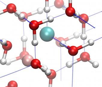 Schema della struttura cristallina del ghiaccio VII. Crediti: Zamaan Raza