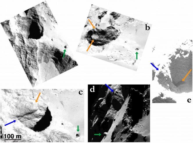 Il pit n° 1 osservato da diverse angolazioni da OSIRIS. In tutte le immagini la freccia verde punta allo stesso masso e la freccia blu punta allo stesso crinale all'interno del pit