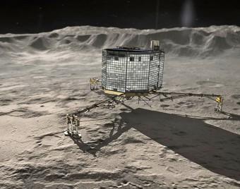 Rappresentazione artistica di Philae sulla cometa 67P. Crediti: DLR