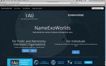 Il sito internazionale al quale è possibile iscriversi per votare i nomi www.nameexoworlds.org