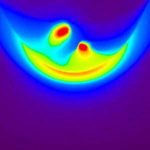 Simulazione di come apparirebbe la regione di transizione della magnetosfera agli occhi del soft X-ray imager di cui sarà equipaggiata la sonda SMILE. Crediti: SMILE mission