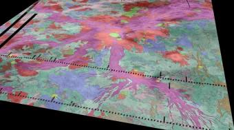 Questa carta geologia di Venere sovrapposta a una vista prospettica topografica del pianeta mostra un'estesa altura (Atla Regio) nel centro (in rosso, da cui si irradiano propaggini viola) e le circostanti vallate vulcaniche (in verde e blu). Nuove immagini e misure dalla sonda ESA Venus Express mostrano che parti delle fratture tettoniche sono probabilmente sede di vulcanismo attivo, confermando che Venere, in queste zone in particolare, continua a essere vulcanicamente e tettonicamente attiva anche nell'era moderna. Crediti: Ivanov/Head/Dickson/Brown University