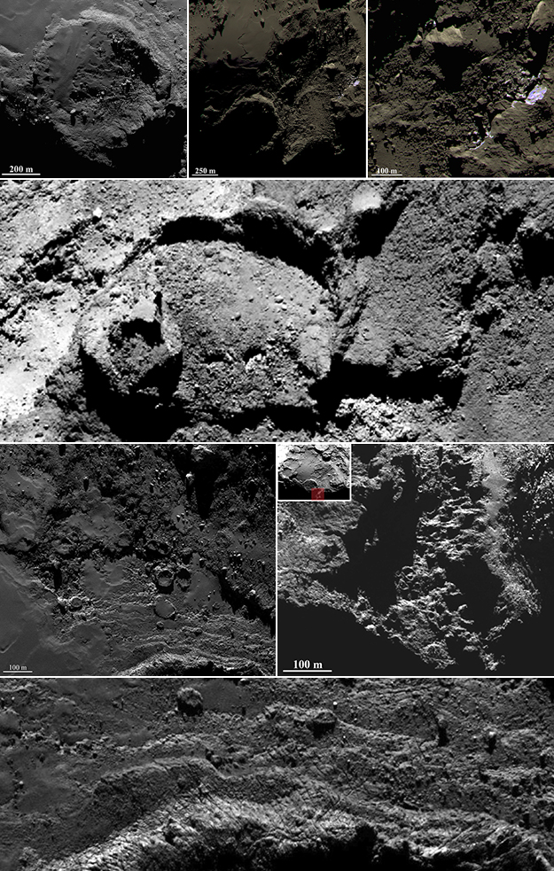 Un collage delle immagini raccolte da Rosetta nel sorvolo della pianura di Imhotep. Crediti: ESA / Rosetta / MPS per il team di OSIRIS / UPD / LAM / IAA / SSO / INTA / UPM / DASP / IDA.