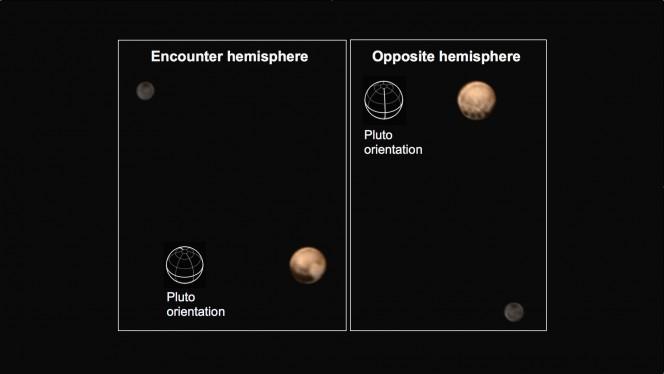 Immagini a colori di Plutone e di Caronte ottenute componendo immagini in bianco e nero con riprese a più bassa definizione ma a colori. A sinistra, la faccia di Plutone che sarà visibile il giorno del fly-by. Nell'altra faccia, a destra, si notano delle macchie scure allineate sull'equatore. Crediti: NASA/Johns Hopkins University Applied Physics Laboratory/Southwest Research Institute
