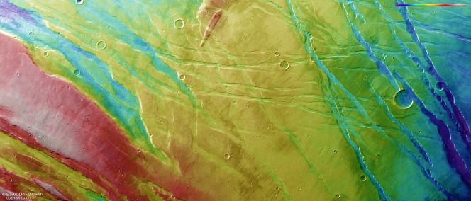 La ripresa topografica della regione Ascuris Planum ottenuta dalla High Resolution Stereo Camera della sonda Mars Express dell'ESA il 10 novembre 2014 nel corso dell'orbita 13785. le tonalità del rosso e bianco indicano il terreno più elevato, mentre le sfumature del blu e viola segnalano le zone più basse. Crediti: ESA/DLR/FU Berlin
