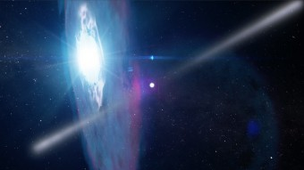 Rappresentazione artistica del passaggio ravvicinato della pulsar J2032 alla stella MT91 213, previsto nei primi mesi del 2018. Crediti. NASA Goddard Space Flight Center Conceptual Image Lab