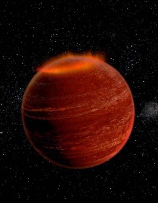 Rappresentazione artistica di un'aurora sulla regione polare di una nana bruna. Crediti: Chuck Carter and Gregg Hallinan, Caltech.