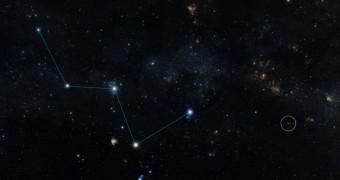 Cerchiata la stella HD219134 nella costellazione di Cassipeia. Crediti: NASA/JPL-Caltech/DSS