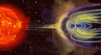 Il vento solare incontra il campo magnetico terrestre, nel rendering di un artista