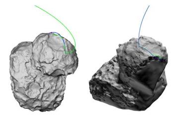 Ricostruzione della traiettoria di Philae sulla cometa 67P realizzate in maniera indipendente dal Lander Science Operations and Navigations Centre (in verde) e dallo European Space Operations Centre (in blu). Tracciando una traiettoria tridimensionale si può avere la percezione che l'impatto delle 16:20 abbia deviato notevolmente il percorso della sonda, mentre bisogna tener conto anche della rotazione di circa 29° all'ora del nucleo cometario. Crediti: ESA/ROSETTA/SONC/ESOC, Biele et al.
