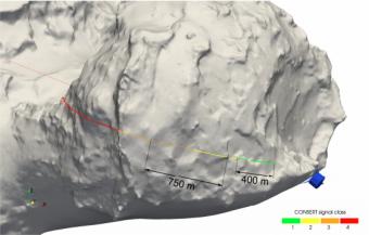 Prima immagine acquisita dallo strumento ROLIS nella sequenza a breve distanza dalla cometa 67P. Al momento dell'acquisizione Philae si trovava a 67.4 m dalla superficie della cometa. Agilika, il luogo del primo touchdown, si trova circa al centro dell'immagine. Le ombre scure in alto a destra sono dovute a un ingranaggio di Philae. Crediti: ESA/Rosetta/Philae/ROLIS, Mottola et al.