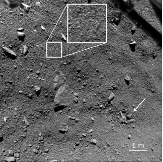 Ultima immagine acquisita da ROLIS durante la discesa, da una quota di 9 m. L'inserto rappresenta una visione ingrandita della superficie, che ne mostra la struttura granulare con una risoluzione di 0.95m/pixel. La freccia indica un gruppo di rocce. Crediti: ESA/Rosetta/Philae/ROLIS, Mottola et al.