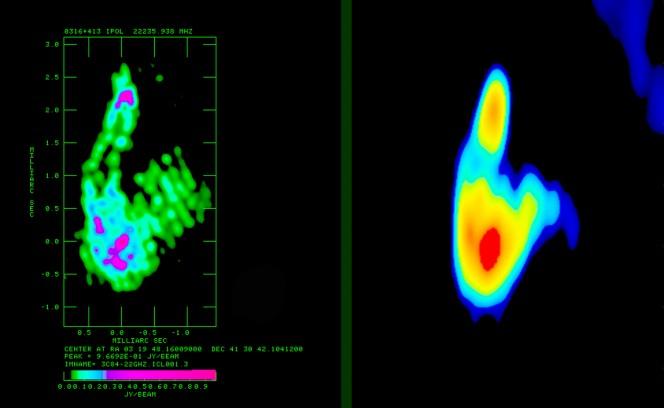 A sinistra, immagine RadioAstron a 22 GHz della radio galassia 3C84. A destra, per confronto, la stessa sorgente ripresa solo con antenne terrestri, sempre a 22 GHz. Crediti: RadioAstron / G.Giovannini (UniBo/INAF), M.Orienti (INAF)