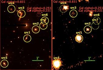 Le immagini nella banda dei raggi X (a destra, XMM-Newton) e ottica (a sinistra, telescopio BUSCA nella banda R) mostrano l'eccezionale campo di SDSS J0959+1259. Le sorgenti rivelate sono indicate con dei cerchi gialli, mentre le linee tratteggiate indicano sorgenti non rivelate nei raggi X. Gli AGN nel campo sono src5, src1, src2 e src3. Il quinto AGN, src8 si trova a circa 8 minuti d'arco da src1 verso sinistra (Est) fuori dall'immagine. Src4, src6 e src7 sono galassie con un'intensa formazione stellare