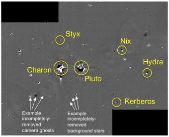 Immagine ottenuta dalla combinazione di diverse esposizioni della camera LORRI effettuate il 26 giugno 2014. Nessuna luna sconosciuta vi compare. Crediti: NASA/JHU-APL/SwRI