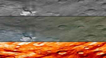Questa immagine dello spettrometro ad immagini a bordo di Dawn (VIR) evidenzia una regione brillante su Cerere conosciuta con il nome di Haulani, dea delle piante nella mitologia hawaiana. Crediti: mage credit: NASA/JPL-Caltech/UCLA/ASI/INAF