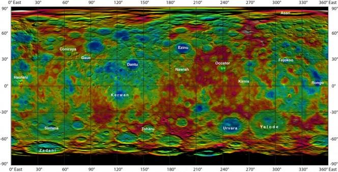 Questa mappa in falsi colori realizzata sulla base dei dati della sonda Dawn della NASA mostra la topografia della superficie del pianeta nano Cerere. Sono indicati i nomi approvati dall'Unione Astronomica Internazionale. Crediti: NASA/JPL-Caltech/UCLA/MPS/DLR/IDA