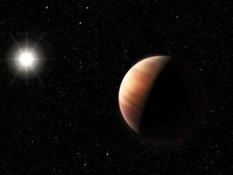Questa rappresentazione artistica mostra il nuovo gemello di Giove, un gigante gassoso in orbita intorno al gemello del Sole, HIP 11915. Il pianeta ha una massa simile a quella di Giove e orbita a una distanza dalla sua stella simile a quella tra Giove e il Sole. Crediti: ESO/M. Kornmesser