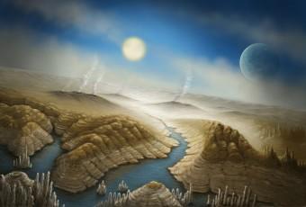 Una rappresentazione artistica della superficie del pianeta Kepler 452b. Crediti: SETI Institute/Danielle Futselaar