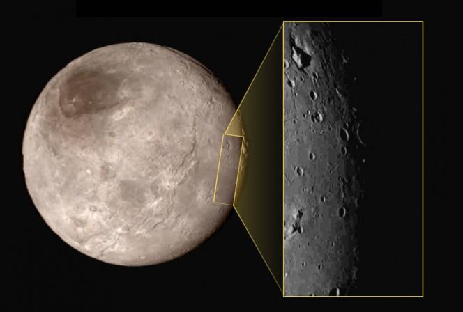 La luna Caronte, che con Plutone forma una sorta di sistema binario. Crediti: NASA-JHUAPL-SwRI