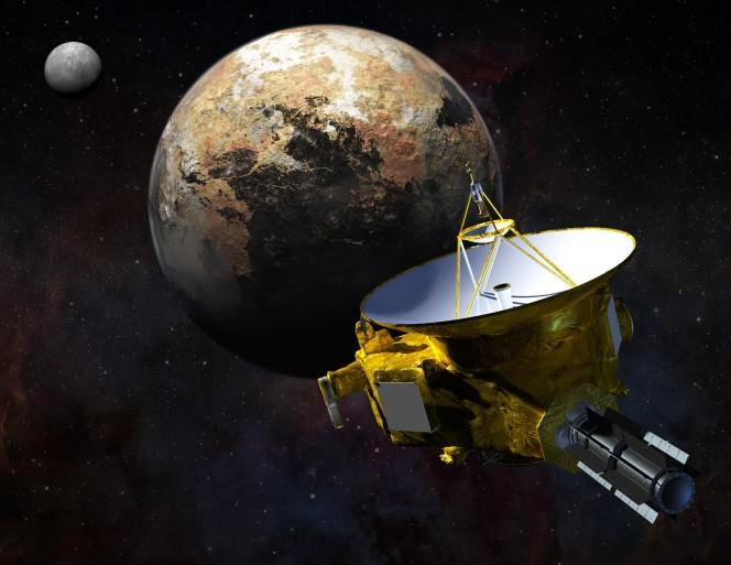 Rappresentazione artistica della sonda New Horizons della NASa mentre si avvicina a Plutone e alla sua luna più grande, Caronte. Crediti: CSIRO