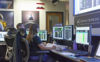 Il centro di controllo di New Horizons al Johns Hopkins University Applied Physics Laboratory di Laurel, Maryland. Crediti: NASA/JHUAPL
