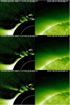 Le riprese di un getto coronale avvenuto il 21 novembre 2007 e osservato dalla sonda STEREO-B. Nella colonna di destra, la sequenza presa dallo strumento EUVI, in quella di sinistra dal coronografo COR1, dove è ben visibile la deflessione del getto dovuta alle linee del campo magnetico solare. Crediti: STEREO/NASA/G. Nisticò/ U. Warwick