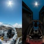 Sinistra: Il piccolo telescopio solare installato sulla parete Sud della cupola del TNG, inizia le osservazioni la mattina per inviare la luce del Sole verso Harps-N. Destra: Osservazioni notturne al TNG con Harps-N e l'Astro Comb. Con l'aggiunta del telescopio solare il turno di lavoro di Harps-N si avvicina alle 24h. (foto: Alex Glenday)
