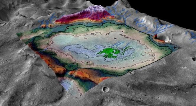 Una ricostruzione digitale della distribuzione dei sali nel bacino. Crediti: LASP / Brian Hynek.