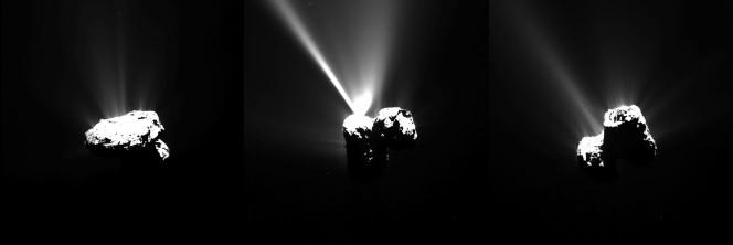 Questa serie di immagini della cometa 67P è stata acquisita dallo strumento OSIRIS di Rosetta tra il 12 e il 13 agosto 2015 (ora italiana), poche ore prima del perielio. L'immagine a sinistra è stata scattata alle 16:07 del 12 agosto, l'immagine centrale alle 19:35, e l'immagine finale alll'1:31 del 13 agosto. Le immagini sono state scattate a una distanza di circa 330 km dalla cometal L'intensa attività è chiaramente visibile, in particolare nell'immagine centrale è spossibile ammirare un intenso getto. Crediti: ESA/Rosetta/MPS for OSIRIS Team MPS/UPD/LAM/IAA/SSO/INTA/UPM/DASP/IDA
