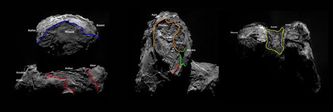 Quattro nuove regioni, separate da confini geomorfologici diversi, sono state individuate nell'emisfero meridionale della cometa 67P. Il ciclo delle stagioni sulla cometa è molto complesso e comporta che l'emisfero meridionale, che comprende parte di entrambi i lobi cometa, aveva sperimentato un inverno lungo cinque anni e mezzo. Intorno a maggio 2015, le stagioni sulla cometa sono cambiate, portando in luce l'emisfero sud. Questo ha permesso agli scienziati di completare la mappa geologica della cometa. Le nuove regioni sono state chiamate: Anhur, Khonsu, Sobek e Wosret. Anhur, Wosret, e Khonsu si trovano sul lato inferiore del lobo più grande della cometa, mentre Sobek si trova sul collo della cometa. Crediti: ESA/Rosetta/MPS for OSIRIS Team MPS/UPD/LAM/IAA/SSO/INTA/UPM/DASP/IDA