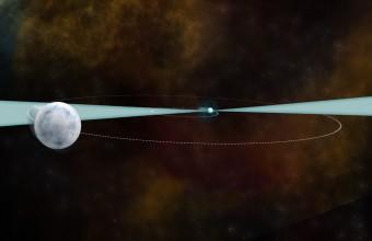 Rappresentazione artistica della coppia di stelle, una pulsar e una nana bianca, utilizzata per lo studio ultra ventennale di come agisca la forza di gravità nel cosmo. Crediti: B. Saxton (NRAO/AUI/NSF)
