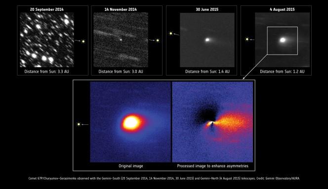 Questa serie di immagini della cometa 67P/Churyumov-Gerasimenko sono state raccolte tra il 2014 e il 2015 presso il Gemini Observatory. Le prime tre immagini sono state ottenute con il telescopio Gemini-South, in Cile, mentre la quarta immagine è stata scattata con il telescopio Gemini-North, sul monte Mauna Kea, alle Hawaii. Tutte le immagini sono centrate sulla cometa e sono state ottenute sommando tra loro diverse esposizioni brevi. Su ogni immagine è indicata la posizione del Sole. Crediti: Gemini Observatory/AURA