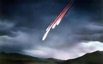 Meteore si incendiano in atmosfera, nel rendering di un artista.