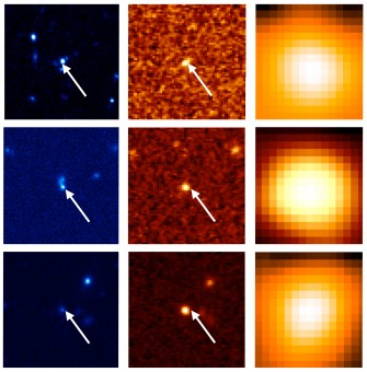 Immagini di tre galassie oscurate. I pannelli a sinistra, al centro e a destra mostrano rispettivamente l'immagine nell'ottico realizzata dalla HSC, nel vicino infrarosso fornita da VIKING e nell'infrarosso intermedio ottenuta da WISE. Si nota che gli oggetti sono deboli nell'ottico mentre invece appaiono estremamente brillanti nell'infrarosso. Credit: Yoshiki Toba et al. 2015