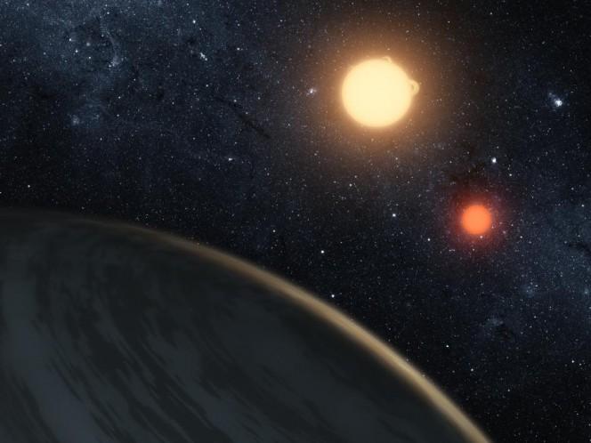 Impressione artistica di un pianeta extrasolare circumbinario simile a Kepler-453b. Crediti: NASA/JPL-Caltech/T Pyle