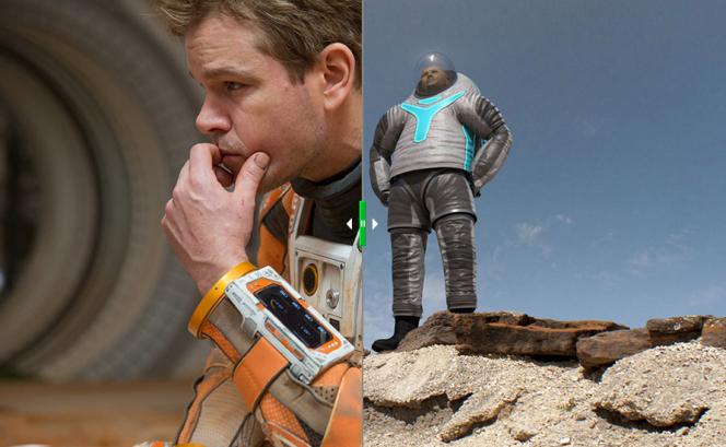 A sinistra: Matt Damon nei panni dell'astronauta della NASA Marc Watney- A destra: il prototipo della tuta Z-2. Crediti: Giles Keyte/NASA